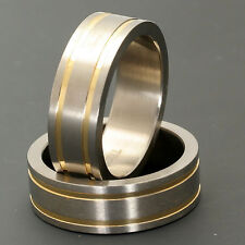 7mm Men's Ring Jewelry Titanium Wedding Band Double Gold Grooved Strip