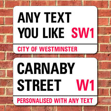 London Street Sign, Metal Road Sign, Plaque Personalised with any text you like