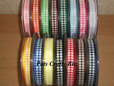 4m Berisfords Gingham Ribbon 10mm Various Colours