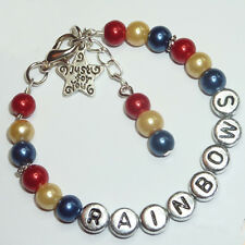 Girls Personalised Rainbows Brownies Guides Promise Bead Bracelet Clothes Gift