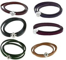 Italian Leather 3-Wrap Bracelet, Stainless Steel Magnetic Clasp