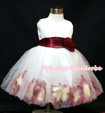 White Wine Red Gown Wedding Party Tutu Skirt Bridal Flower Girl Dress 2-8Y PD005
