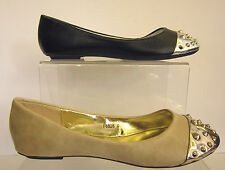 LADIES SYNTHETIC BALLERINA SHOE WITH SILVER TOE CAP STUD DETAIL ( SPOT ON F8826)