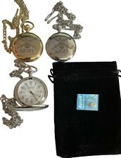 ARMY POCKET WATCH - ARMY  CREST ENGRAVED, COMES WITH VELVET POUCH
