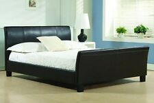 "BRAND NEW SLEIGH 4FT6"" DOUBLE FAUX LEATHER BED FRAME - RRP£399"