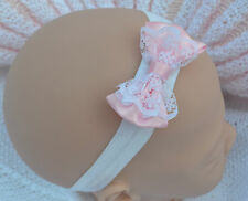PJs ❤ PINK OR WHITE ❤ HEADBAND Satin Lace Ribbon Bow FOR REBORN BABY DOLL