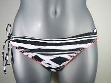 "NWT Jrs ROXY ""FIREDANCE"" Black & White 70's Lowrider One Tie Side Bikini BOTTOM"