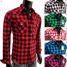 NWT Men WESTERN COWBOY CHECK PLAID SHIRT long sleeve size S M L XL