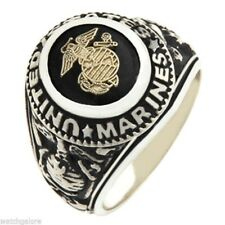 Mens 0.925 Solid Sterling Silver US Marine Corp USMC Military Solid Back Ring