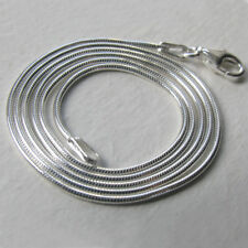 "Italian Solid Sterling Silver Snake Chain Necklace, Width 1.1mm - 16"" to 20"