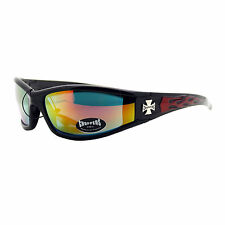 Choppers Sunglasses Motorcycle Wrap Around Biker Shades Color Flames Design