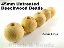 45mm Natural Wooden Beads Round Untreated Wood Balls 8mm Hole 100% Beechwood