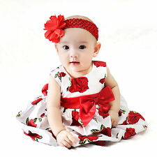 NEW Baby Girls Cotton Dress Birthday sz Newborn-24m (Red Flower) with Satin Sash