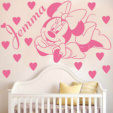 MINNIE MOUSE | Wall art sticker with hearts and personalised name | KIDS | K13