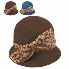 Wool Felt Vintage Style Cloche with Cheetah Bow Winter Warm Wooly Hat Thick Brim