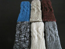Hand knitted FINGERLESS GLOVES cable knit, wrist warmers.