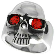 Stainless Steel Gothic Devils Eye Skull Biker Ring w/ Red Crystal Stones  rss502