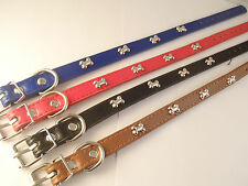 Dog Collar PU Leather Red Black Brown or Blue with Bone Studs
