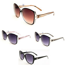DG Sunglasses Cat Eye Womens Sunnies Vintage Retro Brown Clear Stripe DG26669
