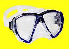 MASK SCUBA SNORKEL DIVE CRESSI SUB BIG EYES CLEAR OR BLUE LENS SILICONE CLEAR