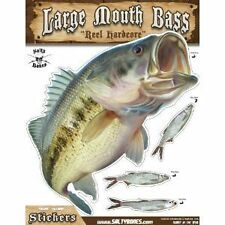 """Sticker Largemouth Bass 11"""" x 14"""" Decal Salty Bones for indoor outdoor use"""