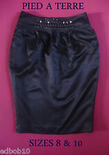 Ladies Gorgeous PIED A TERRE midnight blue fitted skirt beaded waistband 8 & 10