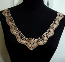 1pc Black or Lt Brown Crochet Collar Neckline Lace Patch Appliques Motif A187