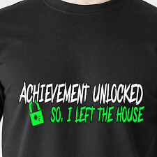 achievement unlocked i left the house. geek computer kids 69 retro Funny T-Shirt