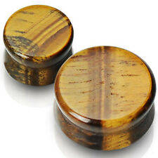 Solid Tiger's Eye Semi Precious Stone Saddle Plug