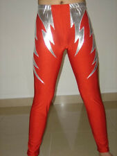 lycra spandex zentai wrestling tights/pants Red Silver Size S-XXL
