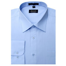 New Amanti Mens Solid   Light Blue  Wedding Formal Dress Shirt