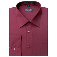 New Amanti Mens Solid  Burgundy  Red Wedding  Dress Shirt  &  Free Shipping