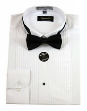 New Amanti Mens White Solid Tuxedo Win Tip Wedding Dress Shirt &   Free Shipping