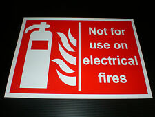 NOT FOR USE ON ELECTRICAL FIRES sign fire extinguisher FREEPOST screen printed