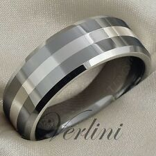Tungsten Ring 8mm Mens Wedding Band Silver Inlay Titanium Colo Jewelry Size 6-13