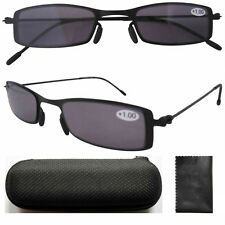 R12005 Thin Stainless Steel Frame Sun Readers Gray Tinted Lens Reading Glasses