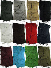 BNWT: MENS MILITARY-STYLE ASSORTED SOLID COLOR CARGO SHORTS SIZES: 30 - 54 #27S