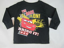 New with Tag Baby Boy Black Long Sleeve CARS Shirt THE RACE IS ON! BRING IT!