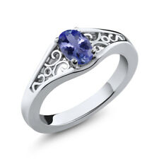 1/2 Ct 6x4mm Oval Cut Natural Tanzanite Sterling Silver Ring