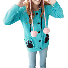 Button Closure Stylish Side Pockets Paw Prints Hoodie for Lady