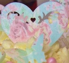 Edible Wafer Hearts -  Vintage Rose Dot Shabby Chic Wedding Cupcake Decorations