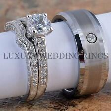 3PCS Engagement Rings Set & 8mm Mens Tungsten Diamond Wedding Band Ring Brushed