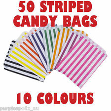 50 CANDY BAGS Buffet Lolly Bar Wedding Paper Stripe Striped Party Favor Mix Gift