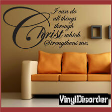 I can do all things through Christ Christian Vinyl Wall Decal Quotes C052IcandoI