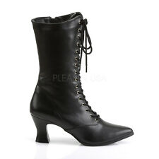 """Demonia 2.75"""" Pointy Victorian Witch Pioneer Granny Black Goth Boots Gothic 6-12"""