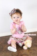 Light Pink Pink Leopard MINNIE Baby Dress Jumpsuit Pink Leopard Skirt NB-12Month