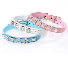 Croc Leather Dog Cat DIY Personalized Rhinestone Letters Name Collars Pet Collar