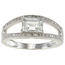 Sterling Silver Split Shank Green Amethyst and Pave Diamond Ring (1/3 TDW)