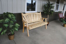 Classic Outdoor Cedar 5 Foot Fanback Garden Bench *8 STAIN COLORS* Made in USA