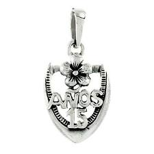 "Sterling Silver Quinceanera 15 Anos Pendant / Charm, 18"" Italian Box Chain"